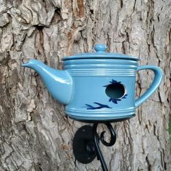 Blue Teapot Birdhouse Glass Hanging   Gifts Mom Grandmother Sister Aunt Unique Outdoor Garden decor fancy