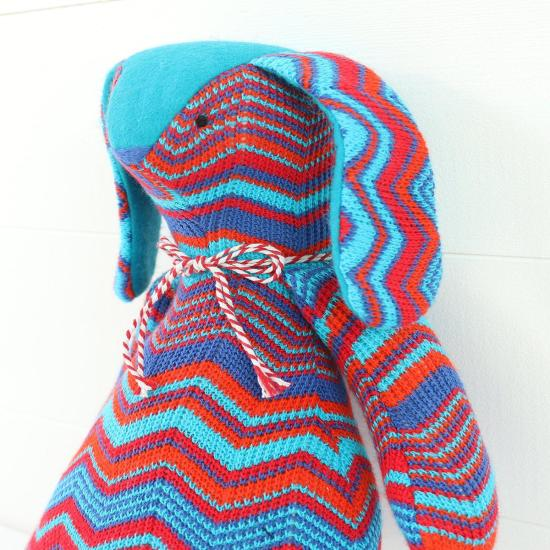 Heirloom Bunny Rabbit Doll- Knitted Zig Zag Bear in Red and Blue Stripes- Baby Shower Gift- Present Idea Keepsake Nursery Ornament