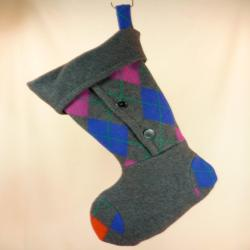 Christmas  ing Felted Merino Wool//Argyle//Steel Grey// Buttons 369