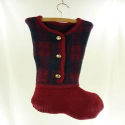 Christmas  ing Boiled Wool Felt Red Green Black Plaid Faux Gold Buttons Pendleton OOAK Recycled Repurposed Upcycled 927