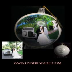 Anniversary Wedding Painted Bri  Groom Engagement Custom Painted and Personalized Christmas Bulb