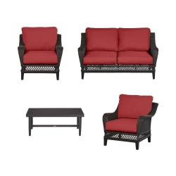 Woodbury 4-Piece Dark Brown Wicker Outdoor Patio Seating Set with CushionGuard Chili Red Cushions