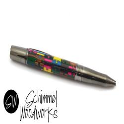 Handmade S mmel Pen - Multi-colored Dyed wood puzzle pieces with gun metal details - Comes in gift box