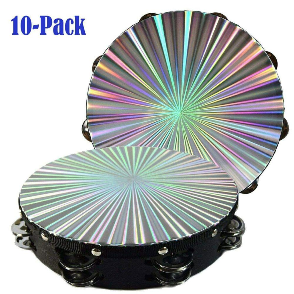 10 Pack 10 inch Reflective Tambourine Laser Pattern Double Row Jingle