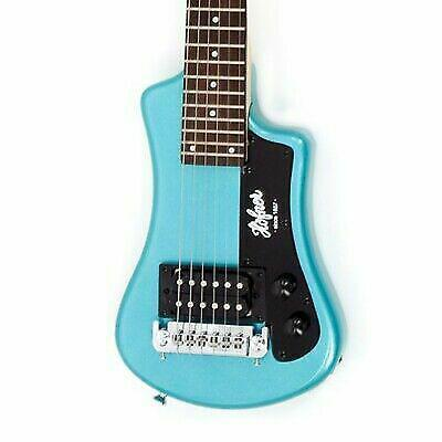 Hofner HCT-SH-BL-O Shorty Electric Travel Guitar with Gig Bag, Blue
