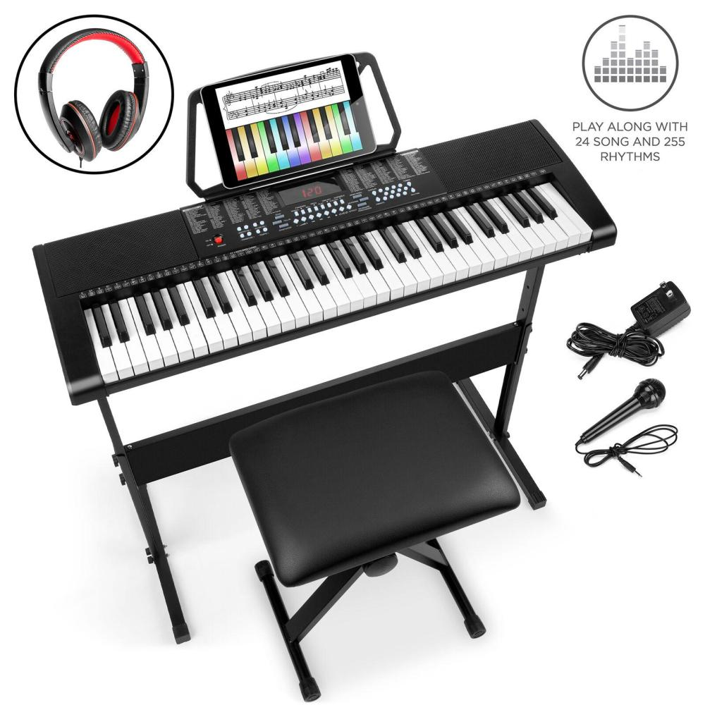 BCP 61-Key Beginners Electronic Keyboard Piano Set w/ 3 Modes, Microphone
