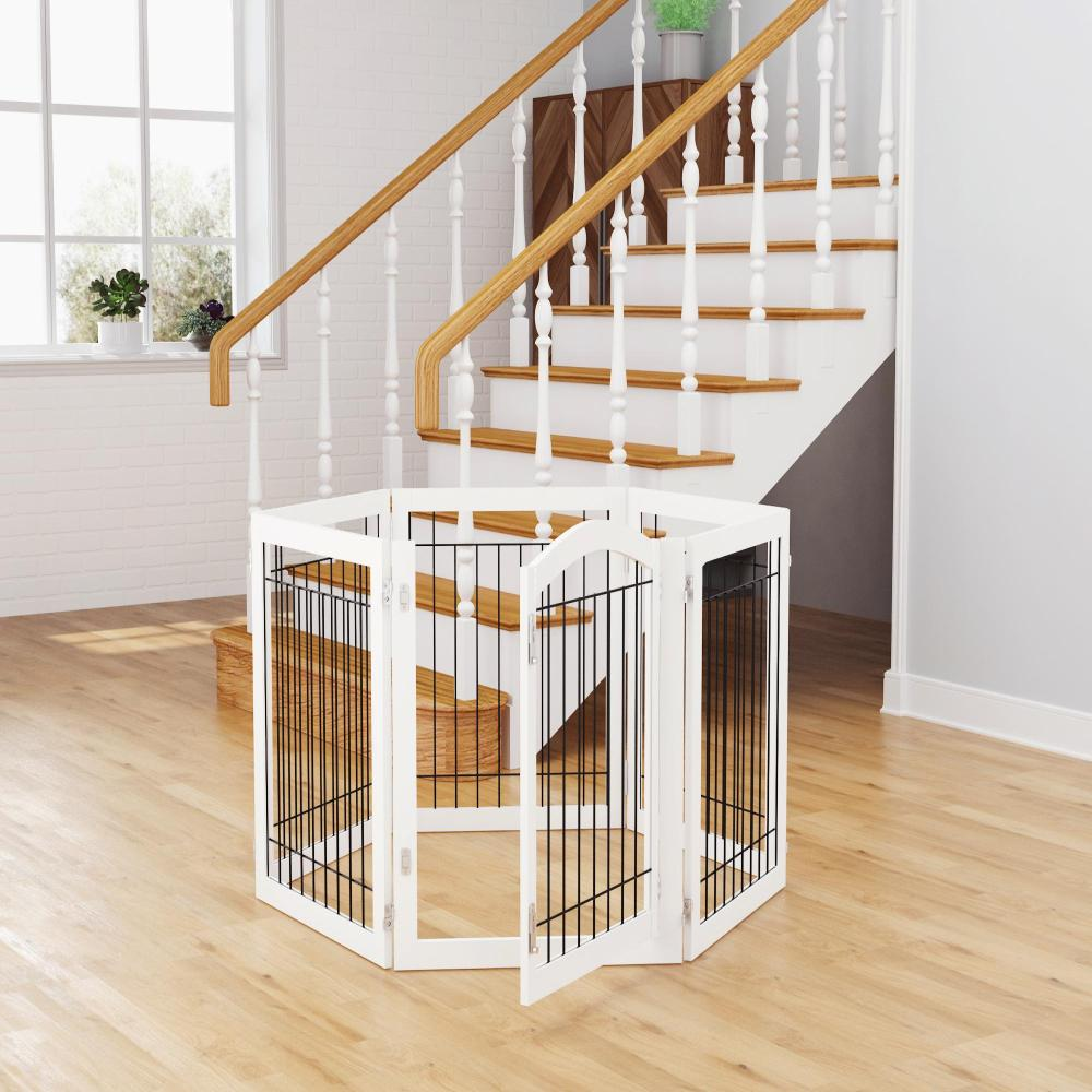 Pawland Freestanding Wire Dog Gate with Door, White, 6 Panels, X-Wide, 30