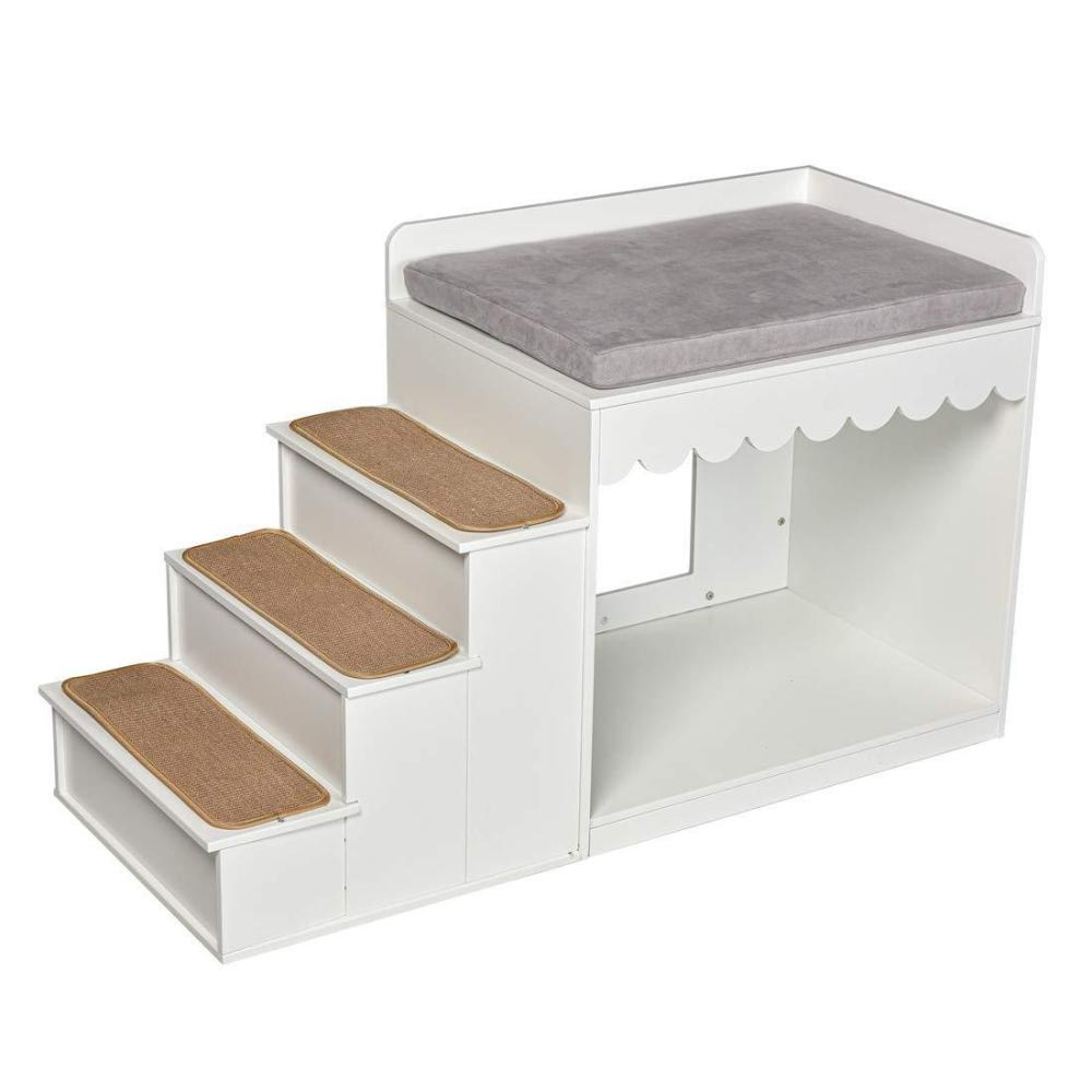 """Indoor Pet Multi-Level Bed Wood Stairs Bunk Bed Combination Condo for Cats Small or Medium Dog 24"""" H White"""