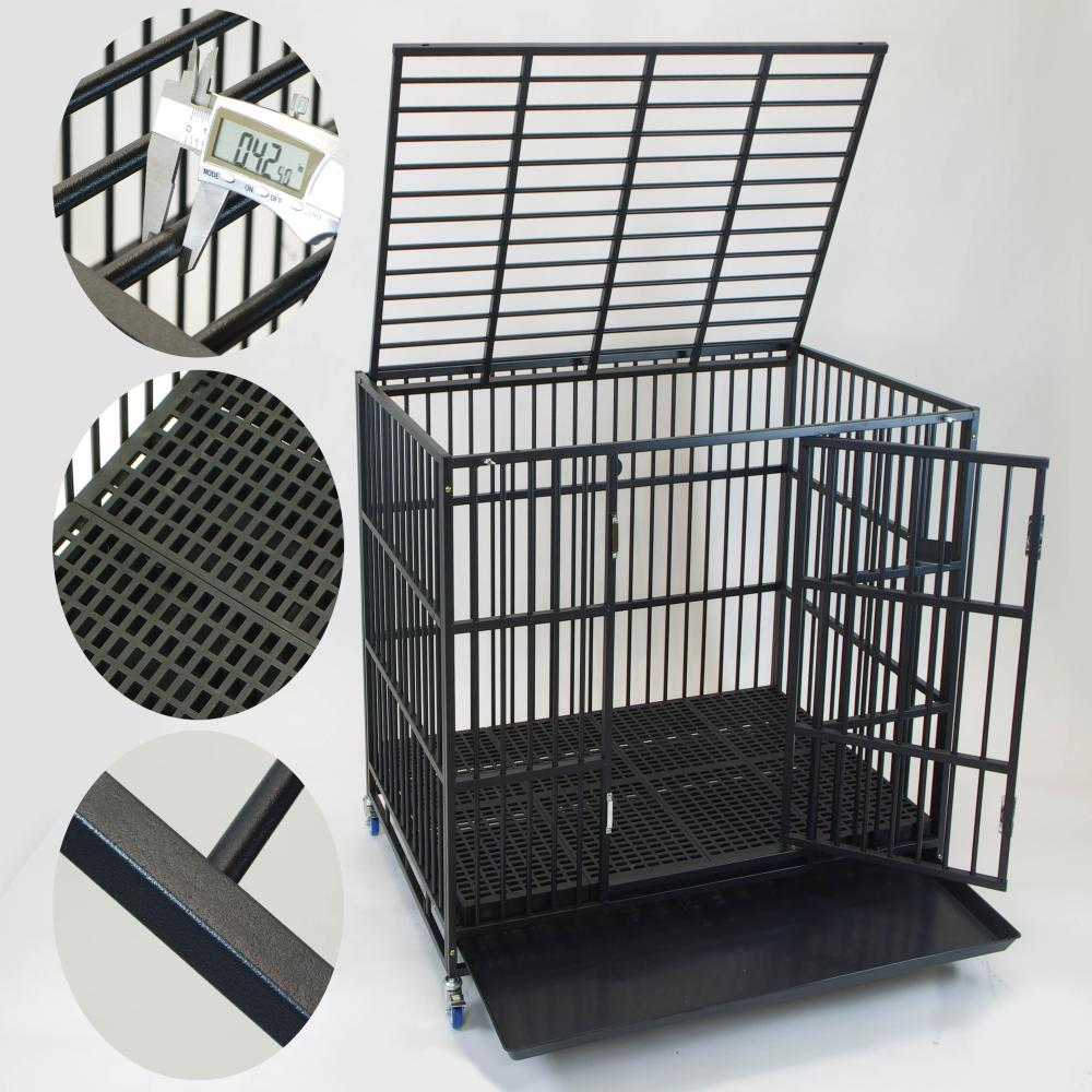 Homey Pet 43 Inch Large Thick Heavy Duty Dog Cage Crate Kennel Open Top Stackable Plastic Grid