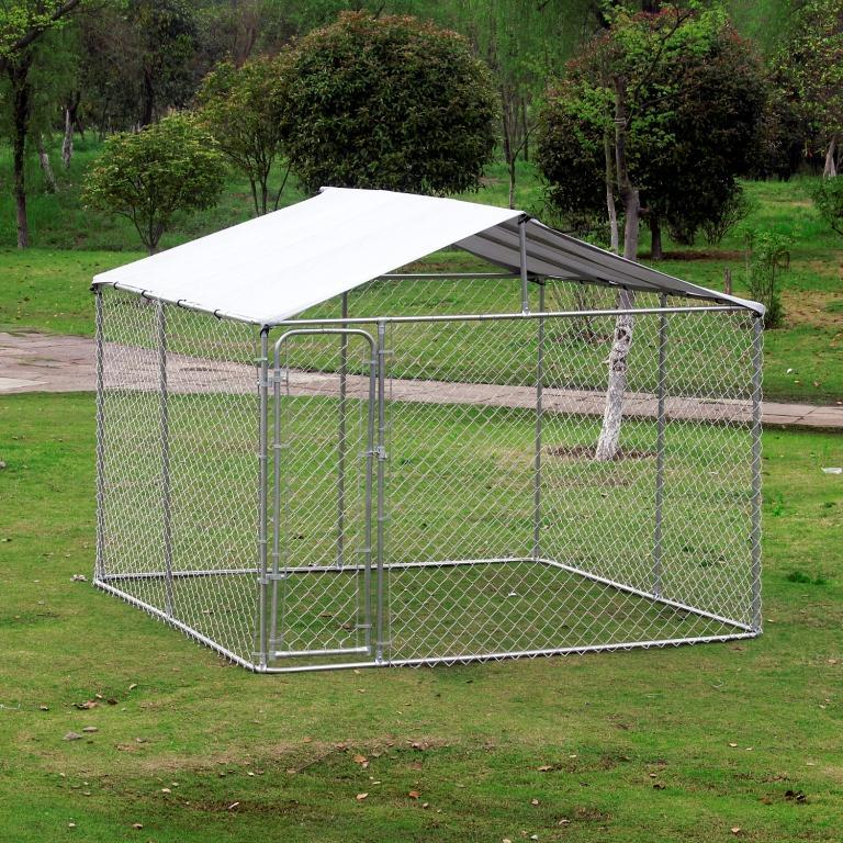 116 x 116 Outdoor Square 12-Gauge Chain Link Dog Kennel With Shelter Cover