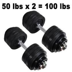 3ox New Total 105lbs Dumbbells 2 x 52.5lbs Adjustable Black Plated Dumbbell Set