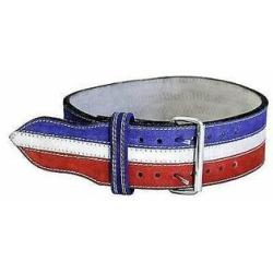 Ader Sporting Goods Ader Leather Power Weight Lifting Belt- 4 Red White Blue (Small)