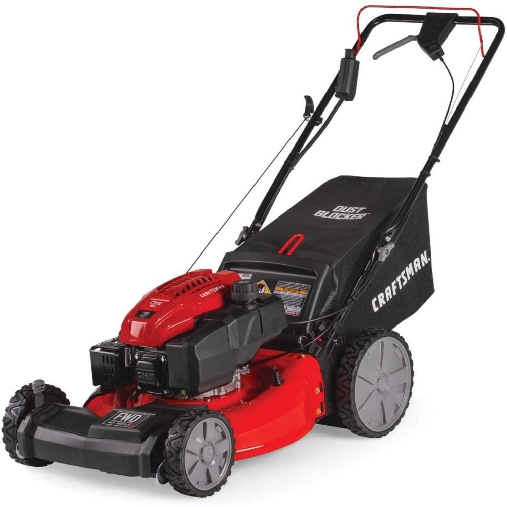 Craftsman M275 159cc 21-Inch 3-in-1 High-Wheeled Self-Propelled FWD  Powered Lawn Mower, with Bagger, Red