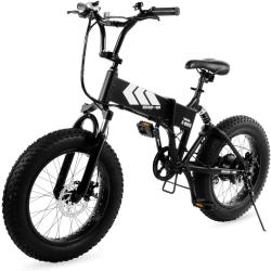 Swagtron EB-8 Outlaw Fat Tire Electric Bike  Foldable Off-Road Fat eBike 20-inch Wheels with Power Assist, Freehub and Shimano 7-Speed Gear Shifts, Black, Large
