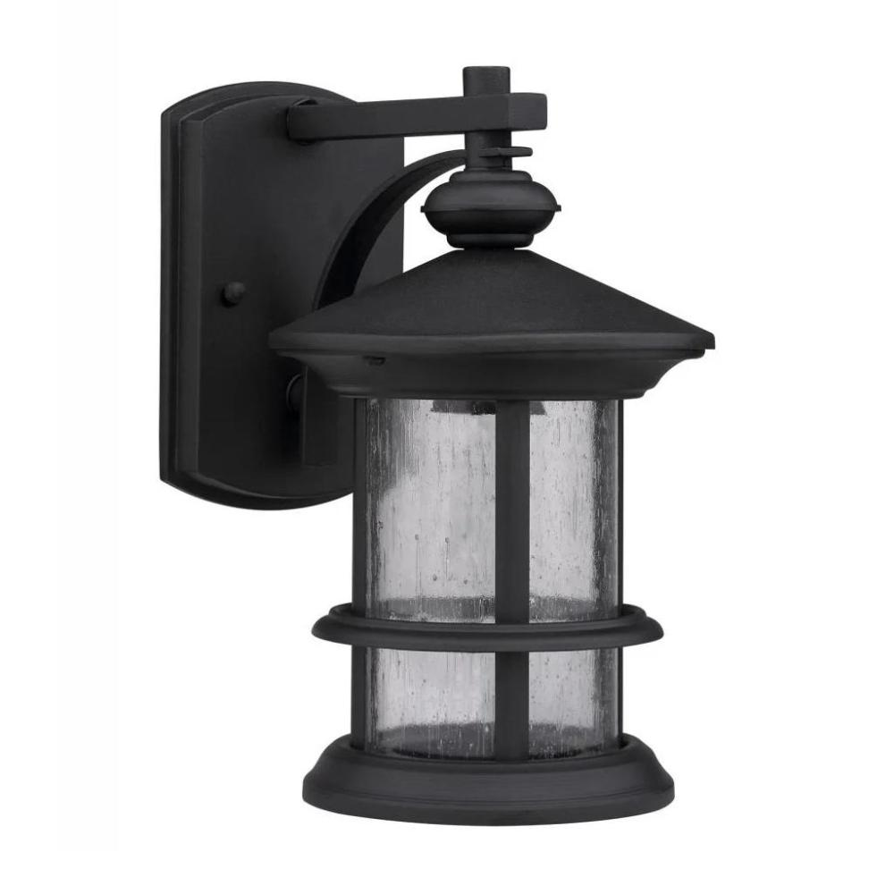Transitional 1-light Black/Clear Seeded Glass Outdoor Wall Fixture