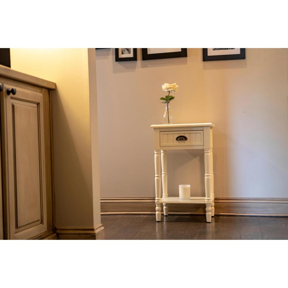 Bailey Wood Beadboard 1-drawer Accent Table