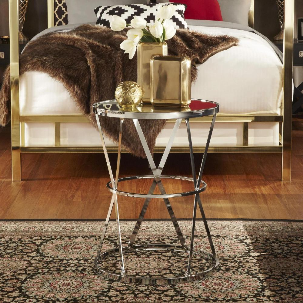 Berke Mirrored Top Round End Side Table by iNSPIRE Q Bold