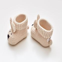 Pregnancy gift box for mom to be with cute unique crochet baby bunny booties. Organic newborn crib shoes basket expecting parents congrats