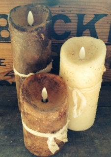 3x8 Raggedy Junction Primitive moving flame flameless TIMER  pillar candle,