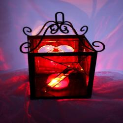 Stained Glass Red Lantern Romantic I Love You Candle Holder You Were My First Arrow