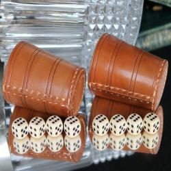 2x Genuine Leather Dice Cups & 8 Dices / German Dice Table Game for 2 Persons