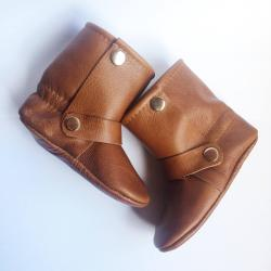 Brown Leather Baby Riding Boots, Baby moccasin boots, toddler riding boots, brown toddler boots