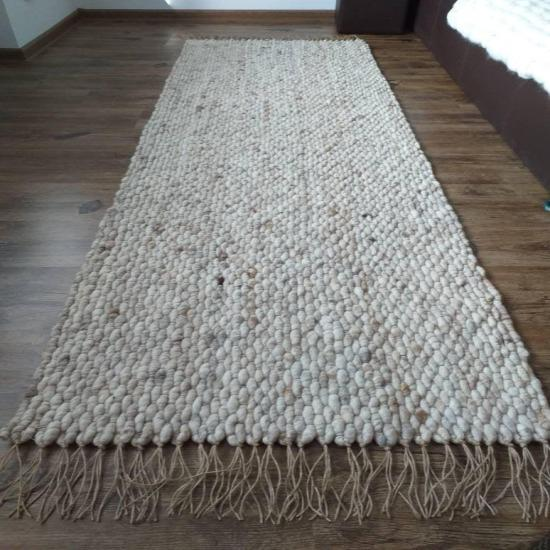 Wool and Jute Rug Runner, Handwoven Area Rug, Living room Rug, Bedroom Decor, Bath Mat, Woven Carpet, Scandi Interior, Eco Home Decorating