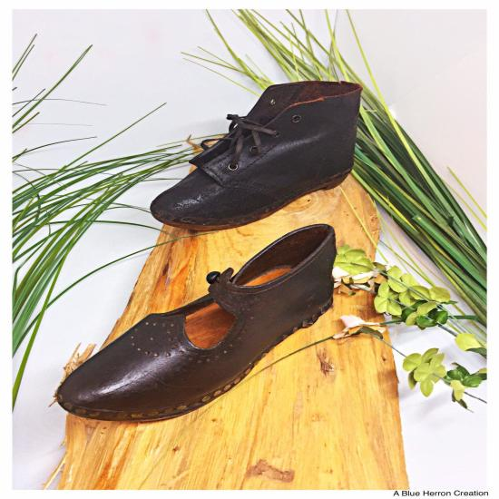 Antique Wooden Child Shoes Lancashire Clogs, 1800s Victorian Shoes Working Class, Handmade Leather Wooden Child Shoes