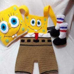Spongebob costume,Photo props costume,babys'cloting, crochet hat Spongebob,costume for newborn