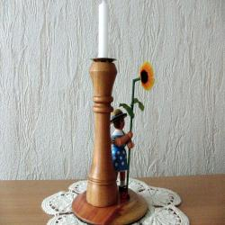 GERMAN HANDMADE CANDLE Holder. Very cute timeless decoration flower girl, plum wood