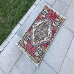 Vintage Doormat, Turkish Small Rug, Vintage Small Rug, Vintage Decor, Turkish rug, Oushak rug, New Home Gift, Unique Gift, Wedding Gift