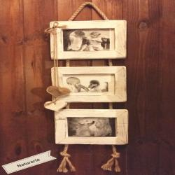 Triple picture frame with rope