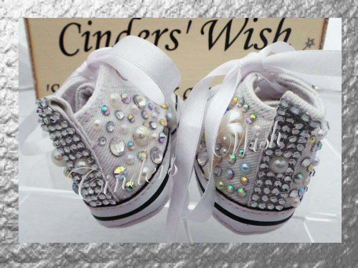 Baby converse / bling toe converse / flowergirl shoes / bling baby shoes, /christening booties / wedding booties/ diamante converse / /