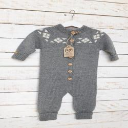 Wool romper for baby, cotton lined collar + PRESENT