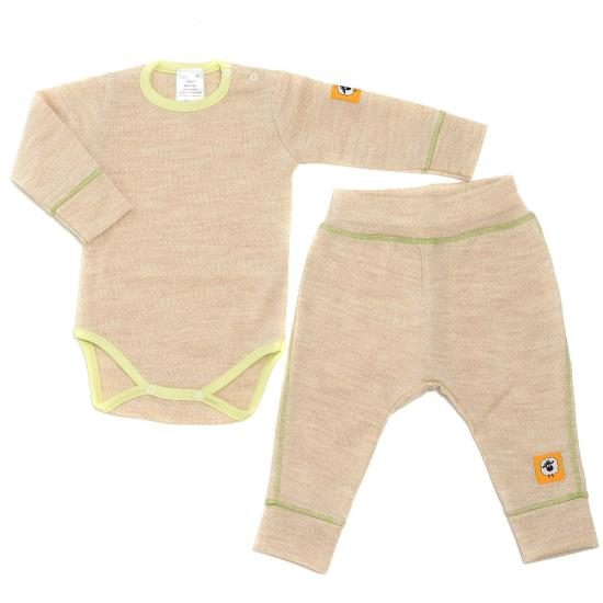 Baby clothes - Base layer set for baby and toddler - Baby merino wool bodysuit and pants set - Eco-friendly unisex baby clothing