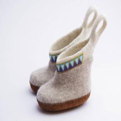 Felted slippers for kid's -high boots- baby wool shoes- unique design-toddler wool boots