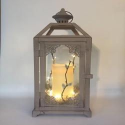 Large Vintage Grey Lantern with Candle/ Candle Holder/ Gray Lantern with Ivory Candle/ Gift for Her/ Lantern with fairy light