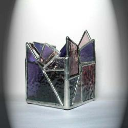 Purple Stained Glass Candle Holder