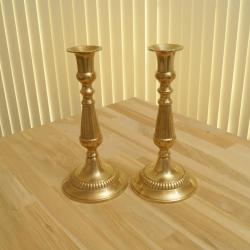 Heavy set of 2 Vintage Candle Holders / Candlestick holders || Vintage Solid Brass