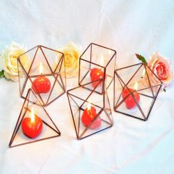 Set of 5 mini Geometric Glass Candle Holders! Wedding and gift candlesticks. Terrariums set, modern candle holder