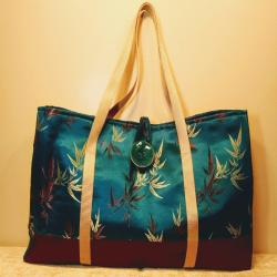 Mahjong Tote Bag in Asian Influenced Satin with button and loop closure -Style