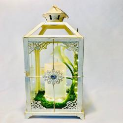 Large White Lantern with Candle/ unique gift/ Vintage Wedding Lantern/ Candle Holder/  White Metal Lantern/ shipping included