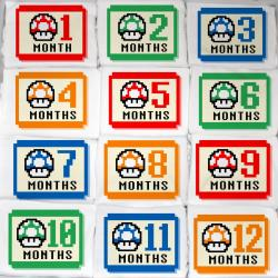 Super Mario Mushroom Baby Monthly Gamer Onesie Set - 12 Months - Perfect Baby Gift