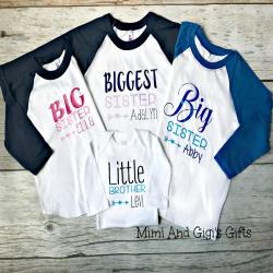 Set of Four Sibling Shirts: Set of Three Sibling Raglans and One Baby Bodysuit