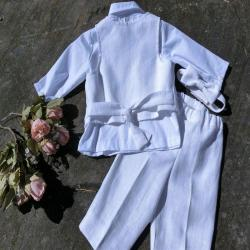 Blessing outfit for baby boy, Linen Christening outfit, Baby boys baptism suit, Baby white wedding suit.