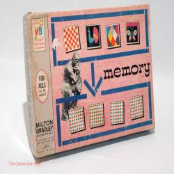 Memory Card Matching Game from Milton Bradley 1966 COMPLETE w Wear (read description)