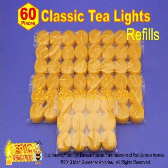 Beeswax Candles, Set of 60 Beeswax Tea Lights, Bulk Beeswax Tea Light Refills, Canadian Bees Wax Candles, Pure Beeswax Candles
