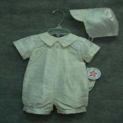 Boy Baptism Silk Romper with hat Off white color  made in USA, Unisex Romper Wear, Ivory Silk Christening Suit, One Piece, Family Outfit