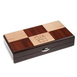 Monogrammed Rosewood and Maple Domino Set
