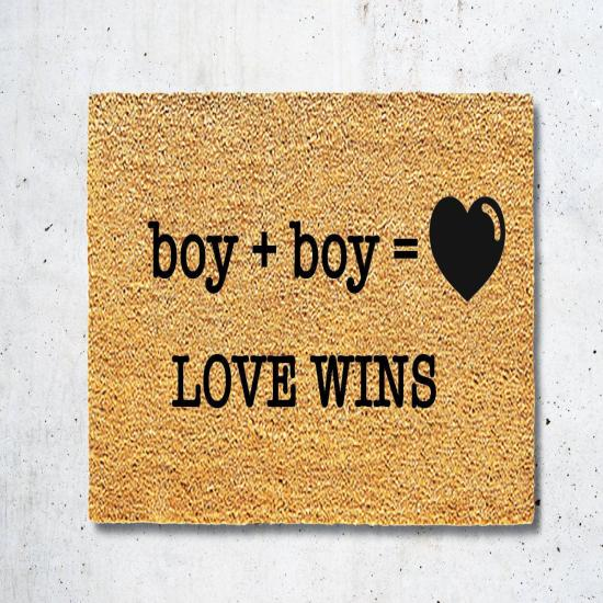 Doormat Welcome Mat Boy Plus Boy Love Wins Coir Natural Fiber Outdoor Entrance  Pride Month Housewarming Gift  Door Mat